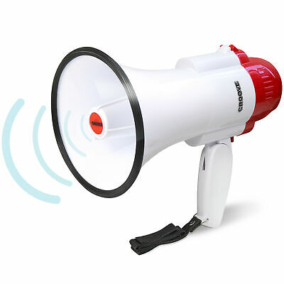 Croove Portable 30 Watt Bullhorn/Megaphone with Siren & Cheering - White