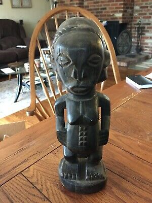 antique african hand carved wood sculpture - Tribal Woman Fertility Statue