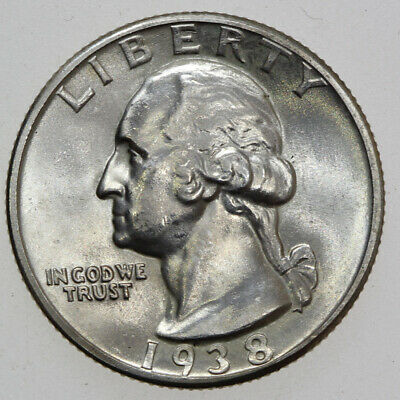 1938-S 25 Washington Silver Quarter Gem Bu