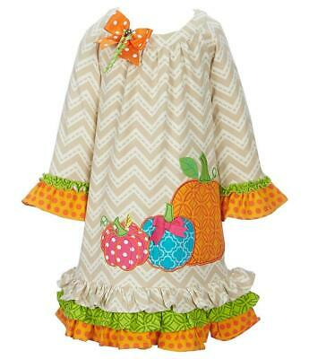 Rare Editions Girls Chevron Thanksgiving Fall Holiday Outfit 12M 18M 24M New