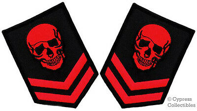 LOT TWO 2 SKULL EMBROIDERED PATCH BIKER POISON SKELETON DEATH iron-on BLACK RED