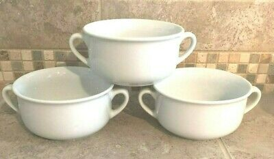"""Williams Sonoma Essential White 3 White Soup Bowls * 2 Handles * 4.75"""" Width"""