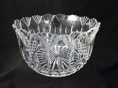 """Crystal Large Bowl Diamonds Fans Saw Tooth Scalloped Edge 8.5"""" Dia"""