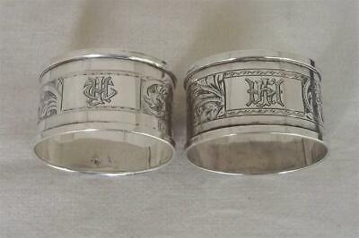 A Stunning Boxed Pair Of Solid Sterling Silver Napkin Rings Dates 1931-1934.