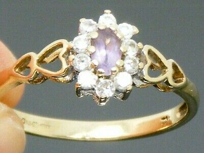 9ct Gold Amethyst  Hallmarked Cluster ring size Q