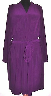 M by Marc Bouwer Purple Empire Smock Waist Knit Dress w/ Tie Belt S  NWOT
