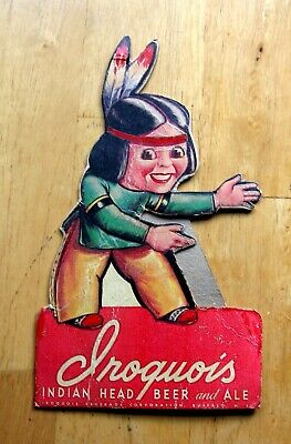 Vintage Iroquois Indian Head Ale Beer Die Cut Easel Back Advertising Sign