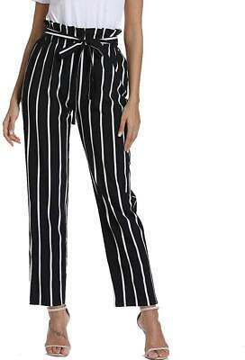 Women's High Waisted Striped Pants Casual Loose Paper Bag Pants Trouser with Poc