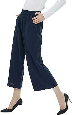 ITHKFU Women's Casual Elastic Waist Cotton Trouser Cropped Wide Leg Pants with P
