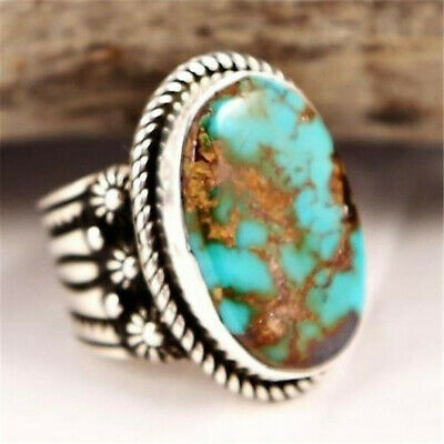 Antique Silver Natural Turquoise Anniversary Engagement Jewelry Ring Size 8