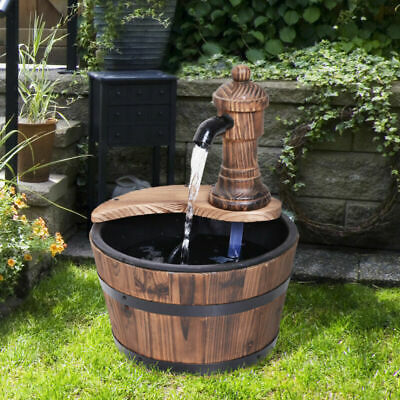 Electric Barrel Fountain Pump Rustic Wood Water Feature Garden Ornament Decor