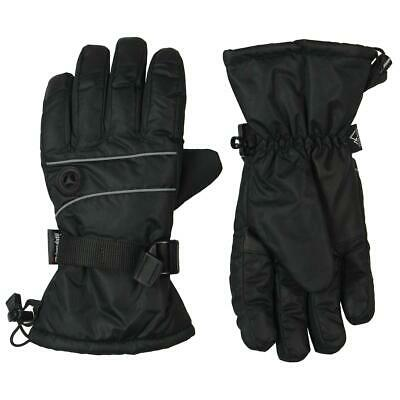 Thinsulate Womens Black Contrast Trim Heavy Winter Gloves L BHFO 4901