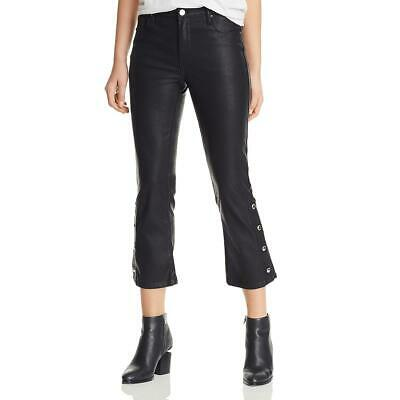 Blank NYC Womens Daddy Soda Black Faux Leather Flared Cropped Pants 25 BHFO 6058