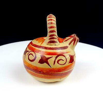 "Native American Pottery Polychrome Banded 4 1/4"" Handled Watering Pot"