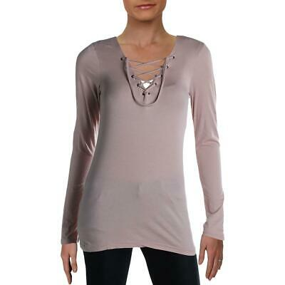 Velvet Womens Pink Lace- Up Long Sleeves Casual Casual Top S BHFO 5404