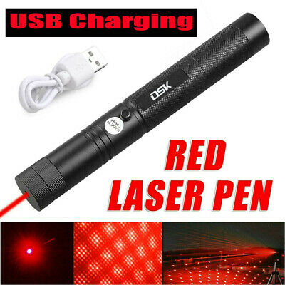 800miles Rechargeable USB Red Laser Pointer Pen Astronomy Beam Star Cap UK Stock