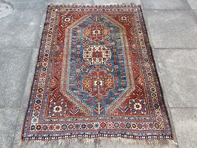 Good Antique Traditional Hand Made Oriental Blue Wool Small Rug 150x112cm