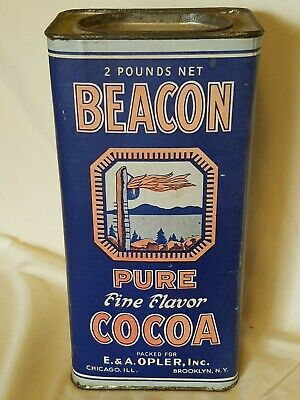 Vintage Beacon Cocoa Paper Lithograph Label Advertising Tin