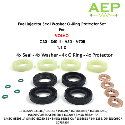 Volvo S40 Mk2 1.6 D 2005-2012 4x New Fuel Injector Seal Washer Oring Kit Set