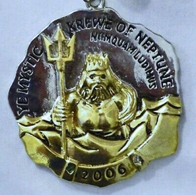 2006 Ye Mystic Krewe of Neptune Metal Mardi Gras Medallion Necklace with Chain
