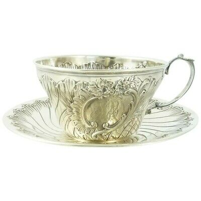 Antique French Sterling Silver Cup & Saucer, Chocolate/Coffee  7 Troy Ounces