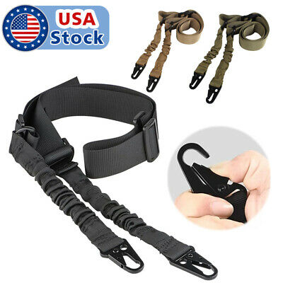 Tactical Dual 2 Two Point Nylon Adjustable Bungee Rifle Gun Sling Strap D US