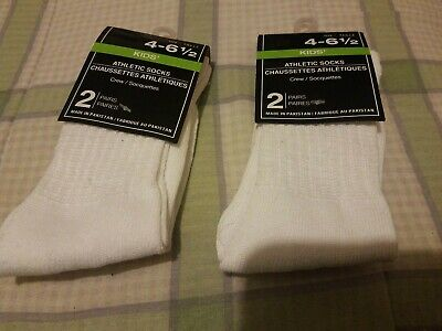 2 packs of 2 Pair White Kids crew,Cotton, Boys/Girls Athletic Socks 4-6 1/2