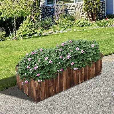 Wooden Plant Bed Plant Flower Herb Vegetables Planter Box Garden Balcony Patio