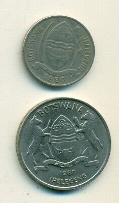 2 DIFFERENT COINS from BOTSWANA - 10 & 50 THEBE (BOTH DATING 1980)
