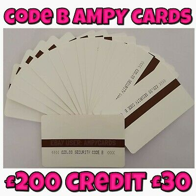 Ampy cards £200 value for £25 Code B