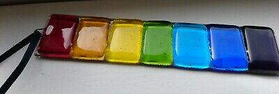 Fused Glass Sun Catcher Light Catcher rainbow colours 155x40mm