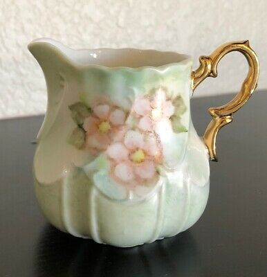 """Small Vintage Lefton Creamer 3"""""""" Tall Hand Painted Floral Green Gold Handle"""