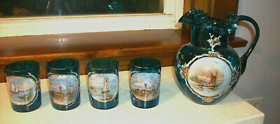 Blue Glass Blown Pitcher w 4 Matching Tumblers - Hand Painted Boat Scene 1880s
