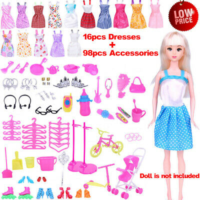 114x Item For Barbie Doll Dresses Shoes Jewellery Clothes Set Decor Accessories!