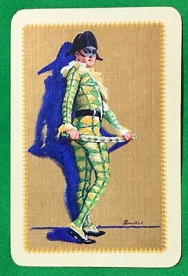 Playing Cards 1 Single Swap Card Old Vintage BALLET GIRL Ball Mask CLOWN 1