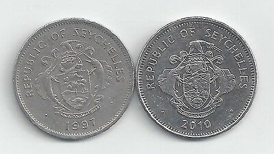 2 DIFFERENT 1 RUPEE COINS from SEYCHELLES DATING 1997 & 2010