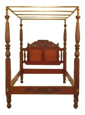 29445EC: LEONARDS Bench Made Carved Queen Mahogany Tester Top Canopy Bed