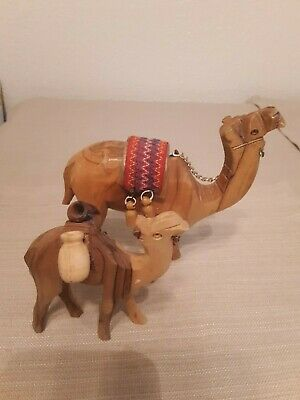 Set of 2  Carved Wooden Camels - Medium and Small