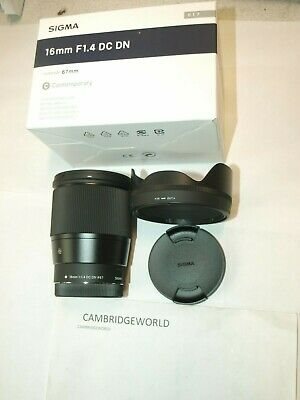 SIGMA 16mm F1.4 DC DN CONTEMPORARY PRIME LENS f SONY E NEW in FACTORY BOX & HOOD