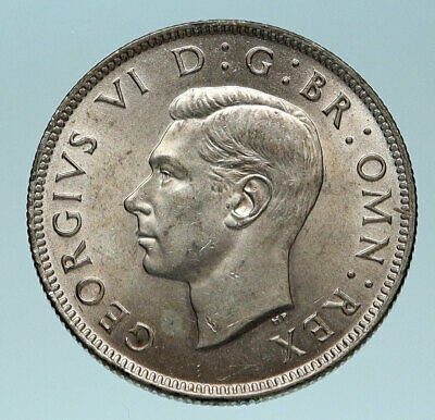 1944 United Kingdom UK Great Britain GEORGE VI Antique Silver Florin Coin i83600