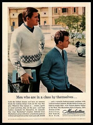 1961 Manhattan Pullover Cardigan Sweater College Campus Scooter Vintage Print Ad