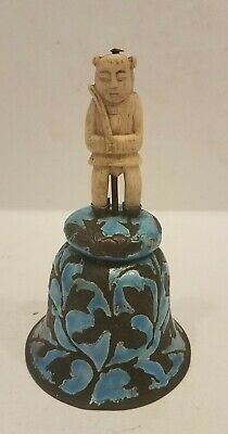Antique Chinese Enamel On Copper Bell Carved  Handle Carving