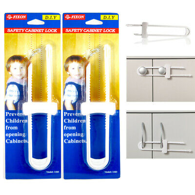 5 Packs Child Proof U Shape Cabinet Locks Baby Safety Door Fridge Drawer Plastic