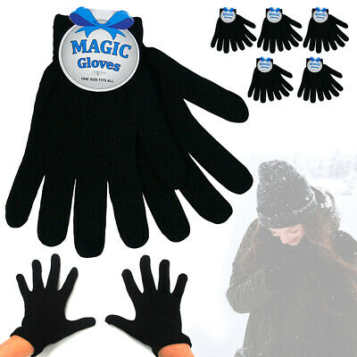 6 Pairs Adult Winter Knitted Magic Stretch Gloves Warm Mittens Black Soft Gloves
