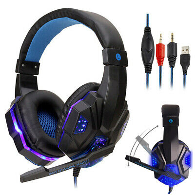 LED Gaming Headset with Mic Stereo 3.5mm Headphones for PC PS4 Slim Pro Xbox One