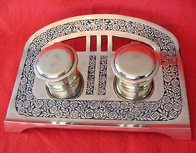 Old ornate vintage brass desktop French double inkwell stand &  ceramic liners