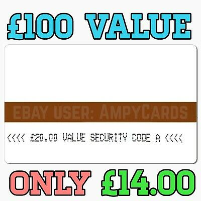 Ampy cards £100 value for £14 Code B