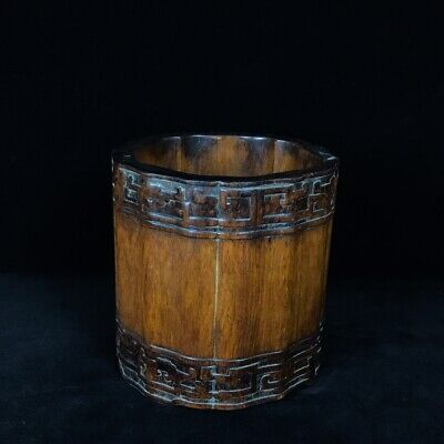"""8"""" Chinese old antique huanghuali wood handcarved Pen container pen pot statue"""