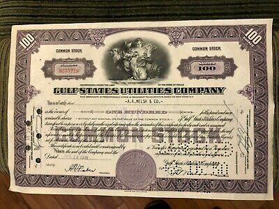 1949 Gulf States Utilities Common Stock 100 Shares