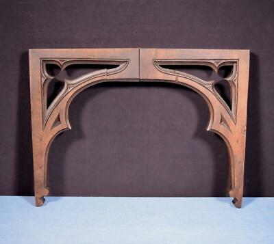 """*Pair of 13"""" tall Antique Gothic French Solid Walnut Wood Arches/Brackets"""